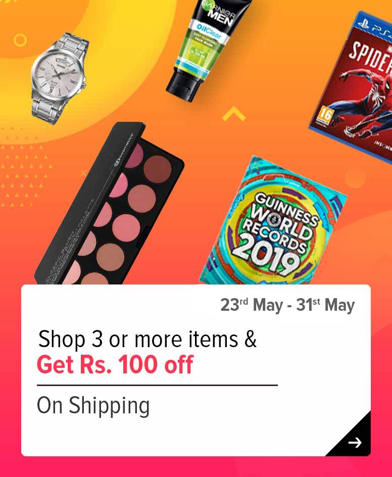 Get 3 or more, get Rs 100 off on shipping